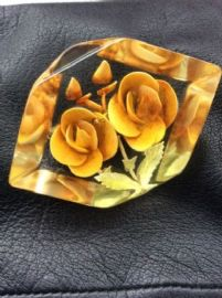 Yellow Flowers Vintage Brooch - 1940s Lucite - Very Chunky Deep-Carved Brooch (On Hold)
